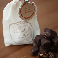 Chocolate Covered Turkish Delight with double roasted pistachios, in cotton muslin bag