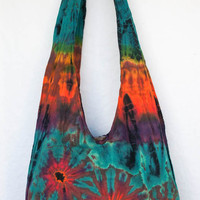 "YAAMSTORE ""sweet poison"" handmade Tie die sling bag shopping carrying grocery travel shoulder hippie hobo purse MEDIUM 931"