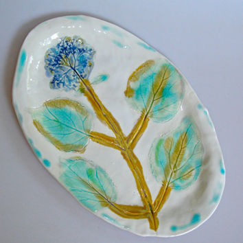 Platter, hand painted plate impressionist Hydrangea, home decor,  green and blue flower platter