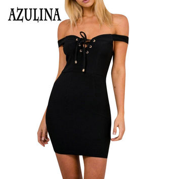 AZULINA Sexy robe femme Off the shoulder mini short club dress knitted Women front lace up little black evening party dresses