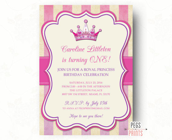 Royal Princess Birthday Invitation From Pegs Prints