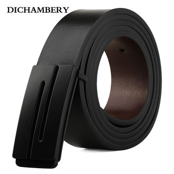 [DICHAMBERY] New Brand Designer Mens Belt Luxury Style Real Leather Belts For Men Metal Buckle Male Strap D0011