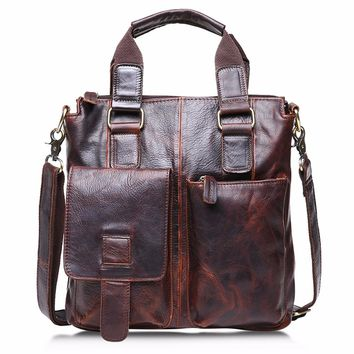 Vintage Buffalo Leather Messenger Satchel Laptop Briefcase Men's Bag Crazy