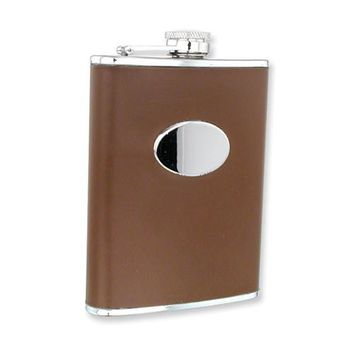 Black or Brown Faux Leather Stainless Steel Hip Flask - Engravable Gift Item
