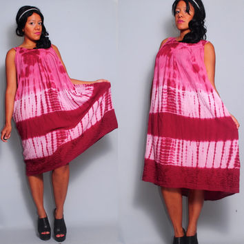 Vintage 1990s Hot Pink Ombre tye dye Cotton ethnic tribal Indian tent Maxi dress