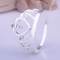 silver plated ring jewelry,big crown ring