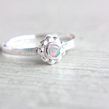 Natural Opal Ring Welo Opal Engagement Ring Little Opal Ring October Birthstone Ring Size 5,5 Sterling Silver Opal Stacking Ring