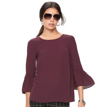 Women's ELLE™ Ruffle Bell-Sleeve Top | null