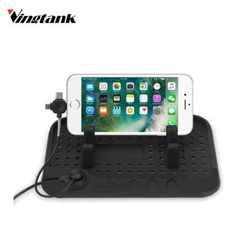 Multifunction Silicon Car Phone HolderNon-slip Console Charging Mat StandPhone Number Plate with Lightning/Type-C/Micro USB port