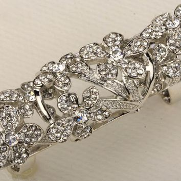 SHIPS FROM USA Floral double full finger knuckle armor long ring antique gold silver color W crystal gift for women RM06