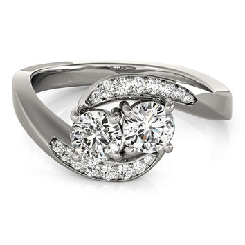 European Engagement Ring - Duo Diamond Swirl Band Promise Ring 0.60 Carat - ER336