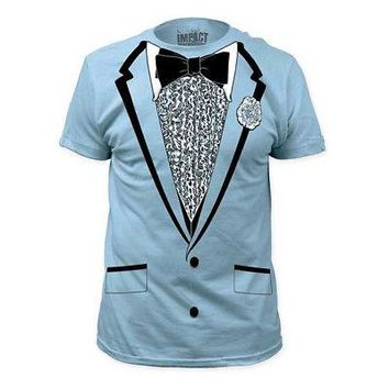 Retro Prom Tuxedo Suit Subway Costume Adult Unisex T-Shirt - Baby Blue