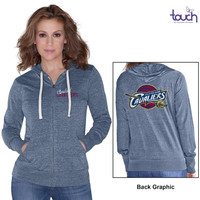 Cleveland Cavaliers Touch by Alyssa Milano Women's Free Agent Tri-Blend Full Zip Hoodie – Navy Blue