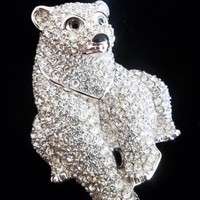 Signed Swarovski Pave\' Crystal Polar Bear Brooch Retired Rare | beyondthelillypad - Jewelry on ArtFire