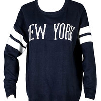 Navy New York Printed Striped Knitted Sweater