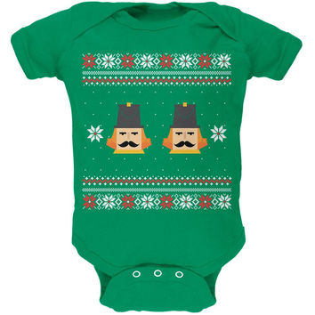 Nutcracker Full Color Ugly Christmas Sweater Green Baby One Piece