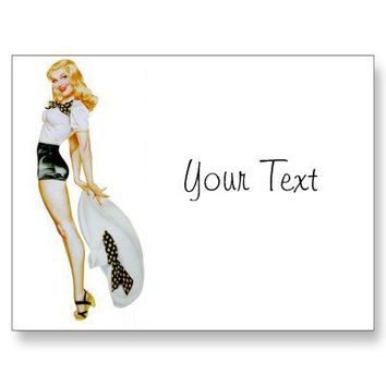 Vintage Retro Pin Up Girl - Blonde with huge Hat Post Card from Zazzle.com