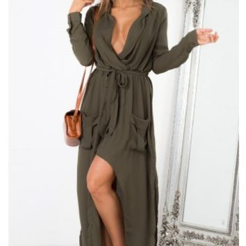 Keep Count maxi dress in khaki