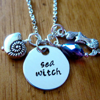 "Disney's ""Little Mermaid"" Inspired Necklace. Villain Ursula Sea Witch. Charm Pendant, Silver colored, Swarovski crystal, for women or girls"
