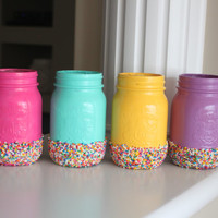 Easter Centerpiece, Sprinkle Birthday Party, Easter Decor, Party Decor, Painted Mason Jars, Sprinkle Coated Jar, Sprinkle Dipped Jar,  Gift
