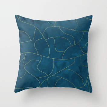 Textured blue & gold Throw Pillow by vivigonzalezart