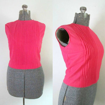 1950s Vintage Pintucked Cropped Top Tango Pink Pleated Back Button Blouse