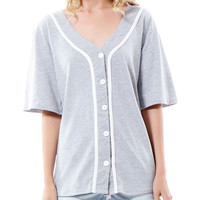 Oversized Button Down Short Sleeve Baseball Shirt