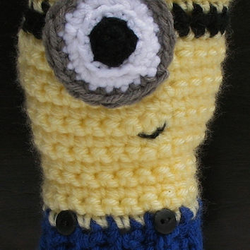 Despicable Me Minion Fingerless Mitts, Crocheted Wristwarmers, Ready to Ship