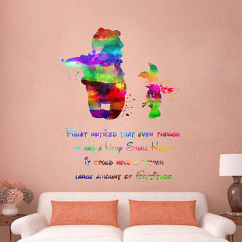 kcik2065 Full Color Wall decal Watercolor Character Disney Winnie the Pooh Piglet quote Sticker Disney children's room