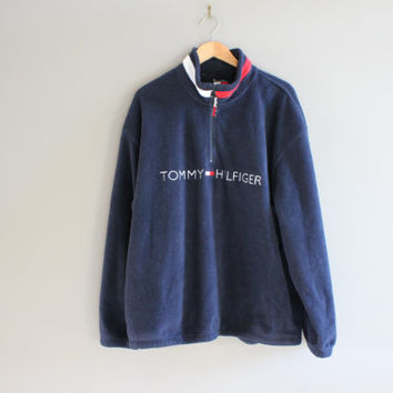 Tommy Hilfiger Sweatshirt Navy Blue Fleece Zip Up Tommy Pullover Baggy Slouchy Old School Sweatshirt Vintage 90s Size XL #T164A