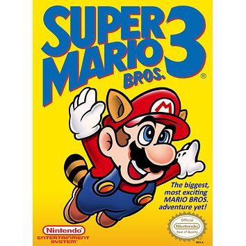 Retro Super Mario 3 Game Poster//NES Game Poster//Video Game Poster//Vintage Game Reprint