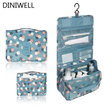 Blue Print Hanging Toiletry Kit Clear Travel Storage BAG Cosmetic Carry Toiletry Organizer