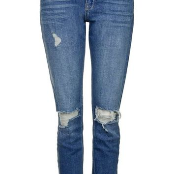 Topshop 'Lucas' High Rise Ripped Boyfriend Jeans   Nordstrom