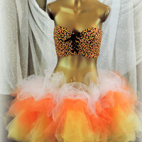 Adult tutu, Candy corn tutu, Adult Halloween costume, yellow tutu, sexy costume, rave raver halloween, tutu skirt, tulle skirt