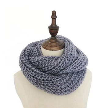 Unisex Thick Ribbed Knit Winter Infinity Circle Loop Scarf