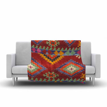 "S Seema Z ""TAPESTRY ETHNIC"" Red Pattern Fleece Throw Blanket"