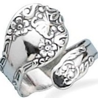 Sterling Silver, Floral Spoon Ring Oxidized- Adjustable Size: Jewelry: Amazon.com