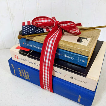 American History Books Set of 4 - U. S. History Buff Gift Collection Red White Blue Patriotic History Books Gift Set - Guides to USA History