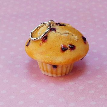 Blueberry Muffin Polymer Clay Charm or Key Chain