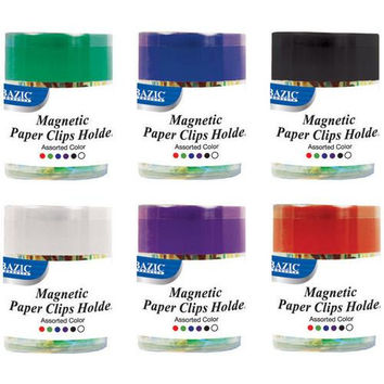 BAZIC Magnetic Paper Clips Holder w/ 50 Ct. Small Color Paper Clip