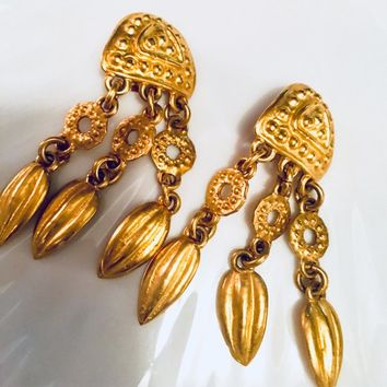 An Exceptional Pair of Long Designer  Goldtone Awesome 80s Bold Bling Charmed Chandelier Dangle Earrings
