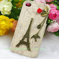 Eiffel Tower Iphone 4 case,Bird Iphone 4s Case,Flower Iphone Case, White Iphone 4 cases, Vintage style owl with Brass Branch Hard Case Cover