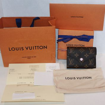 NWT Authentic Louis Vuitton Victorine Monogram Rose Ballerine Wallet M62360
