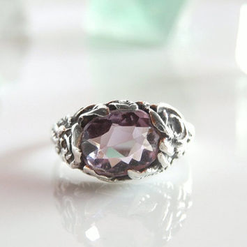Antique Amethyst Ring - Rose de France Amethyst Gemstone - Vintage Sterling Silver Ring - February Birthstone - Size 4.25