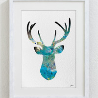 Blue Deer Watercolor Print - 5x7 Archival Print - Deer Painting - Deer Art Print - Wall Decor Art Home Decor Housewares