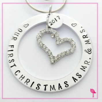 """Our First Christmas as Mr. & Mrs"" Hand Stamped Ornament by Bling Chicks"