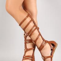 Liliana Metallic Ornament Strappy Gladiator Flat Sandal