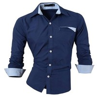 jeansian Men's Slim Fit Long Sleeves Casual Shirts 8522