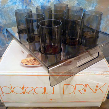 French set of 9 glasses with tray from the 60-70's
