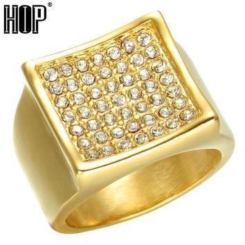 HIP Hop Micro Pave Rhinestone Iced Out Bling Bling Square Ring IP Gold Color Titanium Stainless Steel Rings for Men Jewelry